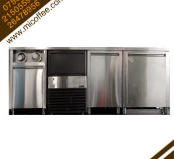 定制高档不锈钢咖啡操作台 奶茶店吧台冰柜 制冰机 水槽 吧台全套